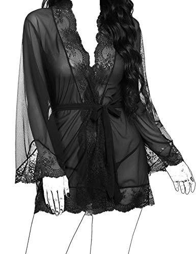 BEAUSOM Swimwear Cover Up Sexy Nightgowns for Women Sex Lace Kimono Robe Lingerie Babydol Mesh V Neck Nightgown Purple Medium ()