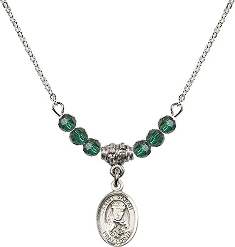 May Birth Month Bead Necklace with Saint Sarah Petite Charm, 18 Inch