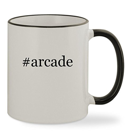#arcade - 11oz Hashtag Colored Rim & Handle Sturdy Ceramic Coffee Cup Mug, Black
