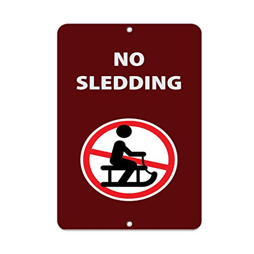 No Sledding Activity Sign Park Signs Park Prohibition Aluminum Metal Sign 9 in x 12 in (No Sledding Signs)