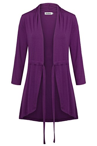Ninedaily Bathrobes for Women Lightweight 3/4 Sleeve All Seasons Out-Fit Fashion Trendy Dressy Blouse Holiday Travel Trip Thin Clothing Easy Dressing Tee Size XL Purple by Ninedaily
