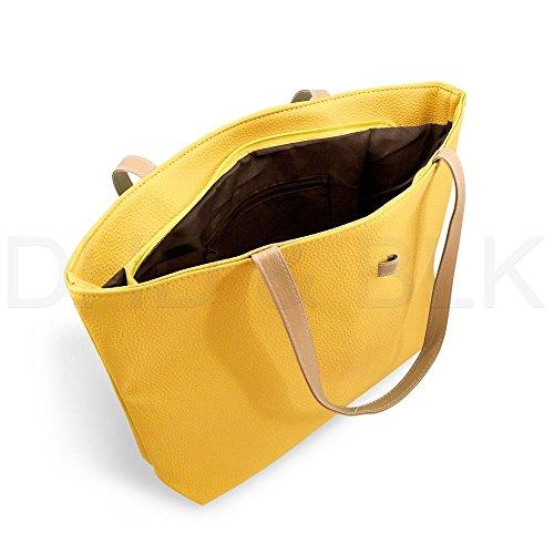 [New Womens Faux Leather Fashion Messenger Handbag Lady Shoulder Bag Tote Bag (Yellow)] (Yellow Purses)