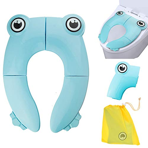VICSOU Folding Large Non-Slip Potty Training Seat for Boys and Girls, Travel Portable Reusable Toddlers Toilet Seat Covers Liners Fits Round & Oval Toilets with Carry Bag (Light 2 Flush 11')