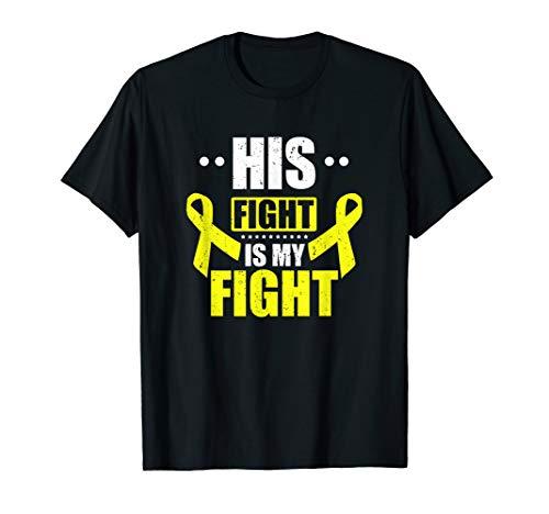 His Fight My Fight Yellow Ribbon Bladder Bone Sarcoma Cancer T-Shirt