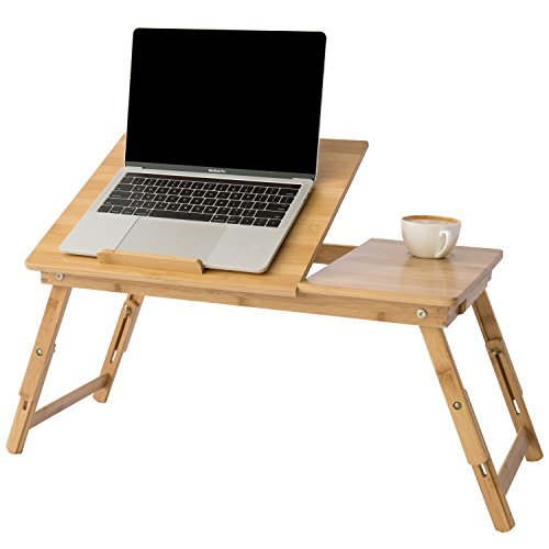 MyGift Height & Angle Adjustable Laptop Desk, Bamboo Beige Wood Folding Breakfast In Bed Table w/ Side Drawer (Adjustable Height Rectangular Folding Table)