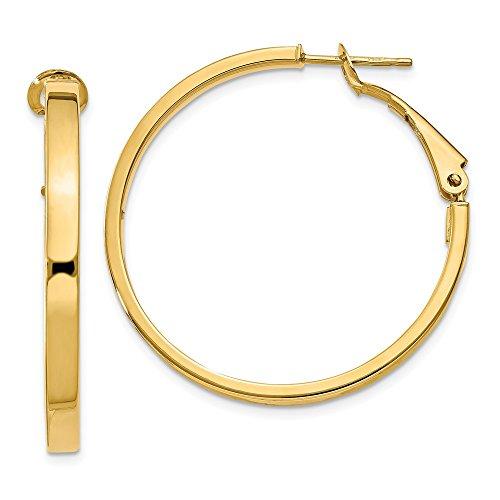 at Hoop Earrings in Genuine 14k Yellow Gold - 35 mm ()