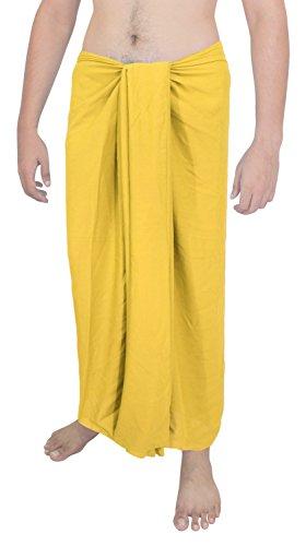La Leela weichen, sanften Rayon feste Mannbadebekleidung Sarong Pareo Wickel 78x39inch gelb