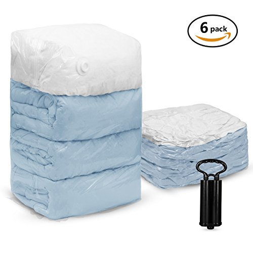 TAILI 6 Pack Cube Vacuum Storage Bags Jumbo 31x40x15(Works With Any Vacuum Cleaner) Extra Large Compressed Space Saver Bags with Unique Hand-Pump for Travel, for Pillows Comforter