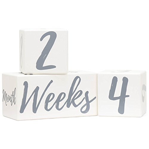 Baby Monthly Milestone Blocks for Age Photos | Premium Solid Wood Newborn Photography Props | Perfect Baby Shower or Gender Reveal Pregnancy Gift | Gender Neutral Keepsake for Photo -