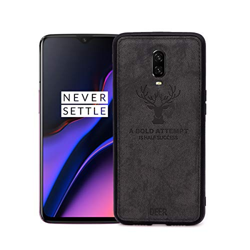 OnePlus 6T Case, Uniquely Designed with Soft Cloth Texture, Scratch Resistant and Anti Slip TPU Case for OnePlus 6T Smartphone [Black]