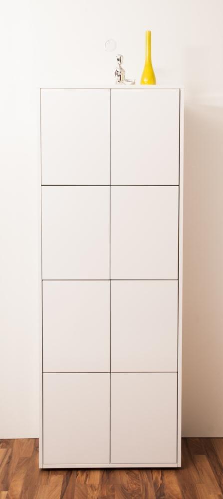 SimO H1970 B 738 T400mm Büromöbel weiß glänzend mit Kabelkanal, 8 Türen B343mm
