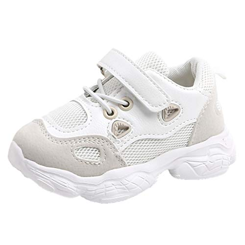 (RAINED-Unisex Toddler/Little Kids Mesh Sneakers Velcro Lightweight Low Top Sports Shoes Hook and Loop Running Shoes Beige)
