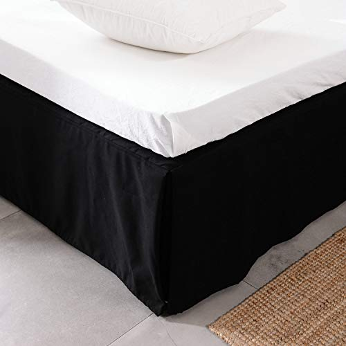 Usual Joy Bedding Microfiber Bed Skirt - Wrinkle and Fade Resistant 15 inch Tailored Drop (Black Queen)