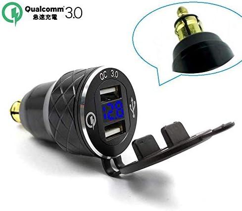 アルミ合金急速充電3.0デュアルオートバイUSB充電器BMW用オートバイ充電器トライアンフDucatiシガレットライター電圧計QC3.0 DINソケットUSBアダプター (青)