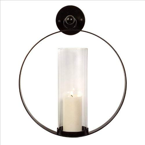 IMAX 56085 Occento Round Hurricane Wall Sconce - Candle Pillar for Home, Hotel, Reception Areas. Wall Mounting Candle Stand. Candle Holders