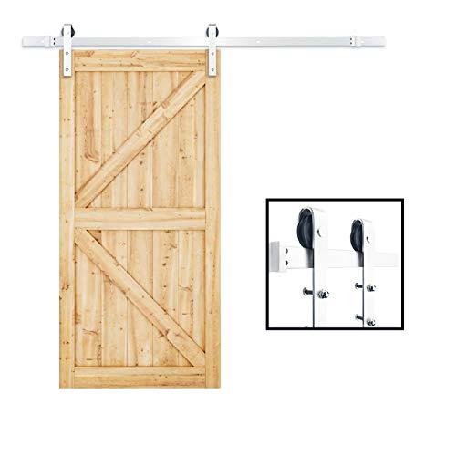 TCBunny SDH-0023-SS Sliding Barn Door Hardware Set Stainless Steel 6.6 FT-Antique Style, Silver