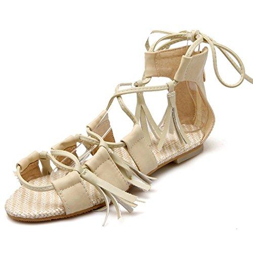 COOLCEPT Women Fashion Lace Up Sandals Open Toe Flat Shoes Beige bl7tor12jx
