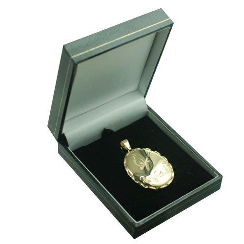 Médaillon 37x28mm oval en or Jaune 375/1000 de forme ovale et gravé à la main