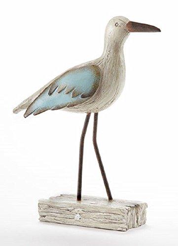 Sea Bird on Driftwood Blue & Ivory Rustic Nautical Decorative Figure 10 in Tall