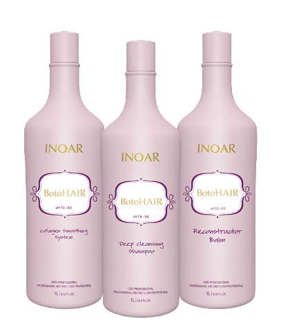 INOAR PROFESSIONAL - BotoHAIR Deep Cleansing Shampoo & BotoHAIR Collagen System & BotoHAIR Reconstructor Balm (33.8 Ounces / 1000 Milliliters) (Best Hair Botox Brand)