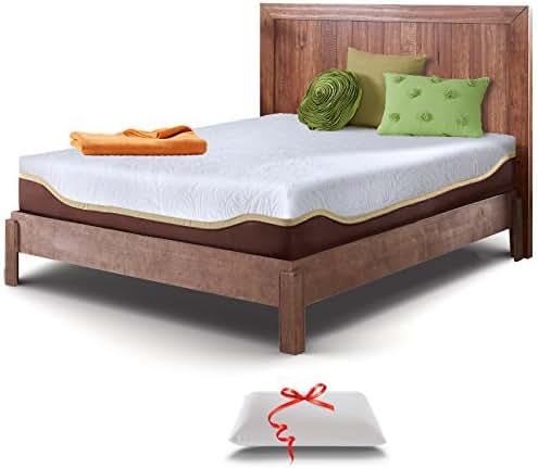 Live & Sleep Twin Mattress - Gel Memory Foam Mattress in a Box - 10 Inch Twin Size Firm Mattress - Cool Bed in a Box - Bonus Luxury Foam Pillow - CertiPUR Certified - 20 Year Warranty