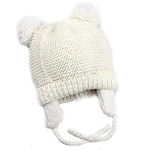 Baby Beanie Earflaps Hat - Infant Toddler Girls Boys Soft Warm Knit Hat Kids Winter Hat with Fleece Lining (White,S)