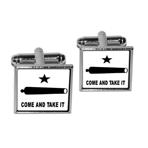 Come and Take it - Texas Flag - Revolt Square Cufflink Set - Silver