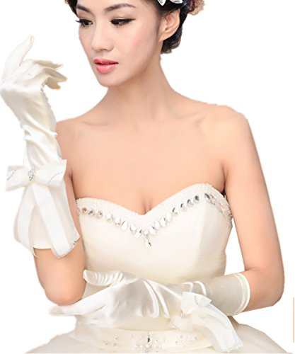 ストレージ上へ家事(エブレドレス)everydress 2016 レディース 花嫁手袋 サテン リボン ウエディンググローブ ロンググローブ ベージュ