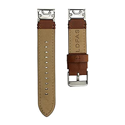 LDFAS Leather Band Compatible for Fenix 6S/5S Plus Band, Quick Release Easy Fit 20mm Genuine Leather Watch Strap Compatible for Garmin Fenix 6S/6s Pro/5S/5S Plus/D2 Delta S Smartwatch, Brown/Silver