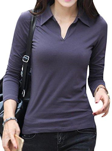 Discount Papijam Womens Slim Fit Long Sleeve V-Neck Lapel Side Slit T Shirts hot sale