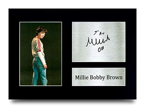 HWC Trading - Imagen de Millie Bobby Brown, Eleven en Stranger Things, con autografo, regalo para los fans de la TV, tamano A4