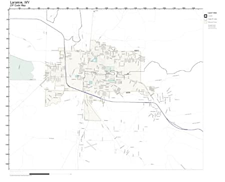 Amazon Com Zip Code Wall Map Of Laramie Wy Zip Code Map Not