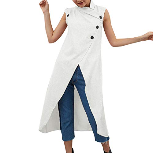 Aniywn Women's Solid Color Split Cotton Linen Maxi Dress Loose Sleeveless Casual Button Dresses White