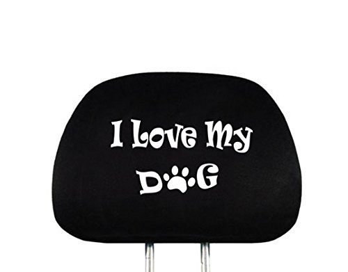 Yupbizauto New Interchangeable Car Seat Headrest Cover Universal Fit for Cars Vans Trucks - One Piece (I Love My Dog)