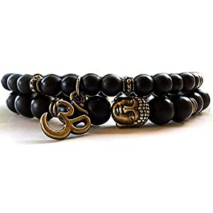 Shining Diva Fashion D'vine Set of 2 Yoga & Meditation Om Charm Buddha Reiki Beads Bracelet for Men Women(Black)(9377b)