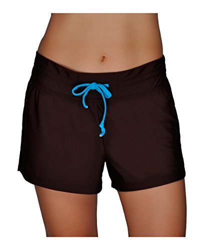 Women's Beach Boyshorts, Solid Board Shorts Loose Swim Bottom Built-in Drawstring Trunks Swimwear Coffee