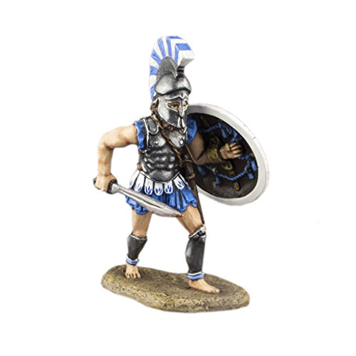 Ronin Miniatures Hoplite Spartan Warrior of Ancient Greece Hand Painted Tin Metal Collection Toy Soldier Size 1/32 Scale Décor Accents 54mm for Home Collectible Figurines Best Gift ITEM - Painted Hand Tin