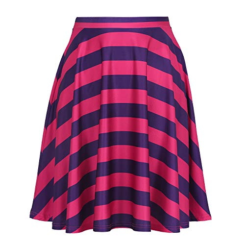 Womens Cheshire Cat Skirt Purple Pink Striped Skirts]()