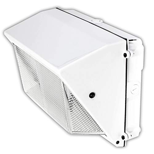 LED White Wall-Pack Glass Lens- 40W 5000K Commercial Outdoor Light Fixture (Out-Door Security Porch Lighting For Industrial Out-Side) 120-277V ()