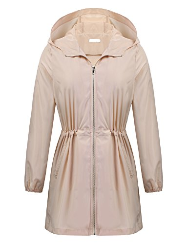 Khaki Raincoat - Women's Long Sleeve Waterproof Lightweight Breathable Raincoat Rainjacket Windbreaker Khaki XXL