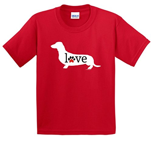 Price comparison product image Dog Dad Gifts Dachshund Wiener Dog Love Paw Prints Youth T-Shirt Large Red