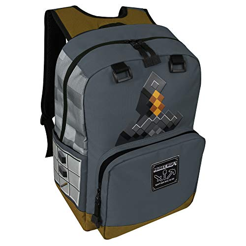JINX Minecraft Sword Adventure Kids Backpack (Grey, 17