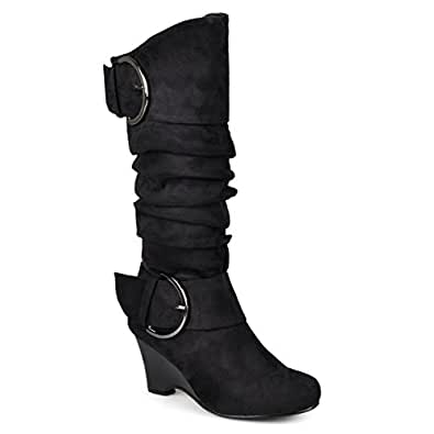 Journee Collection Womens Regular Sized and Wide-Calf Buckle Slouch Wedge Knee-High Boot Black 6