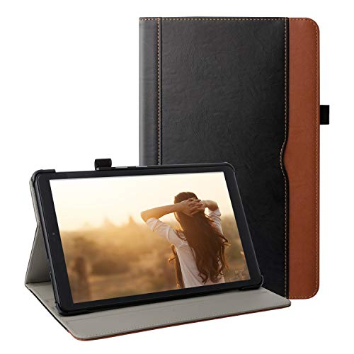 ZoneFoker Samsung Galaxy Tab A 10.1 inch 2019 Tablet Leather Case, Multi-Angle Viewing Folio Stand Cover with Pencil Holder for Galaxy Tab A 10.1 SM-T510/SM-T515 - Black/Brown (Samsung Galaxy Tablet Sports Case)