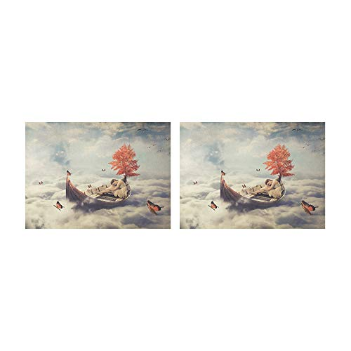 THKDSC Placemats A Lone Boat Under A Tree Table Mats Set of 2 Non-Slip Washable Coffee Mats Heat Resistant Kitchen Tablemats for Dining Table Indoor Outdoor14'' X 19''(35x48cm)