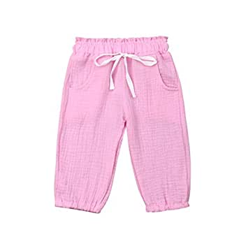 Seyurigaoka Cute Toddler Kids Summer Outfits Baby Boy Girl Casual Elastic Harem Long Pants Cotton Bloomers with Pocket - Pink - 6-12 Months