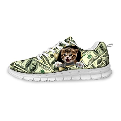Bigcardesigns Money Design Lovely Cat Womens Running Shoes Lace Up Sneakers Cat2 V3gtoZjs