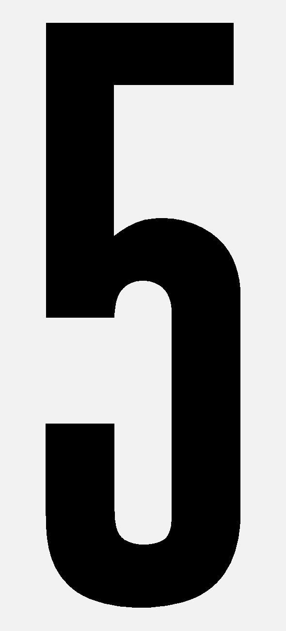 selbstklebend aus HartPlastic,15mm bis 200mm f/ür innen und au/ßen seewasserfest Ziffer 5 in schwarz wei/ß oder rot 60mm, schwarz