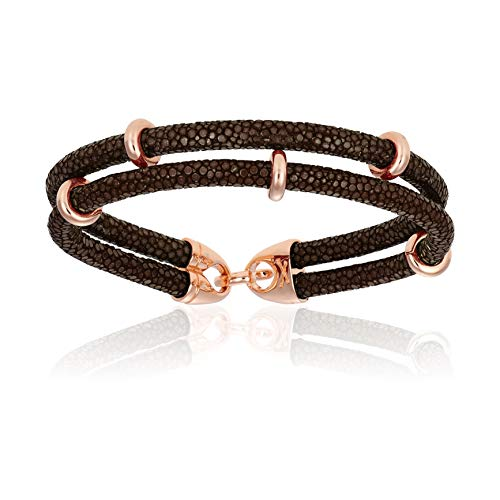 - Double Bone Double Stingray Bracelet. Genuine Leather Bracelet with Rose Gold Beads for Men and Women (Brown, 20)