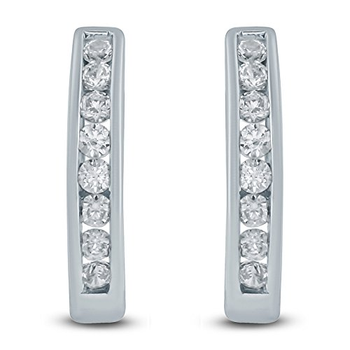 1/2 Carat TW Diamond Hoop Earrings in 10K White Gold ()